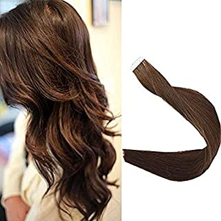 "Full Shine 14"" 20Pcs 50Gram Tape in Human Hair Straight Hair Extension Color #4 Middle Brown Double Side Tape Hair Extension"