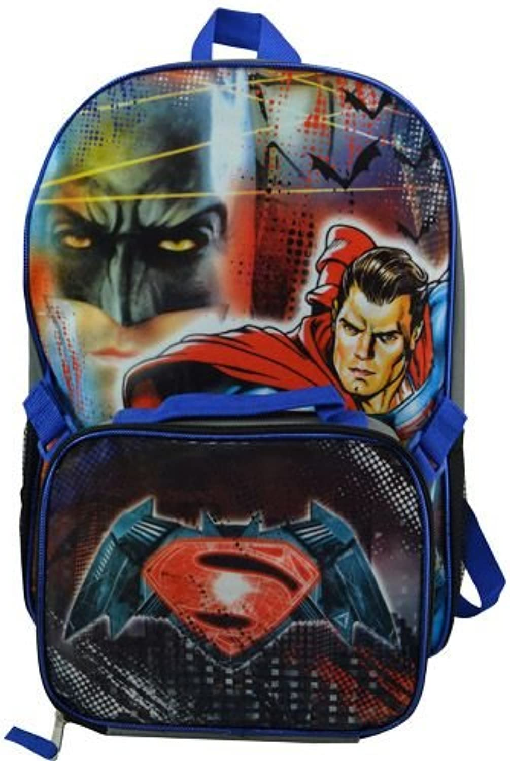 2016 Dc Comics Batman & Superman 16  Backpack with Lunch Bag Set-bluee