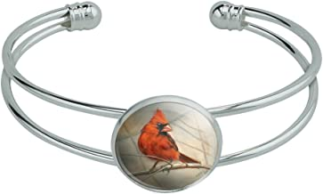 GRAPHICS & MORE Cardinal Red Bird on Tree Branch Novelty Silver Plated Metal Cuff Bangle Bracelet