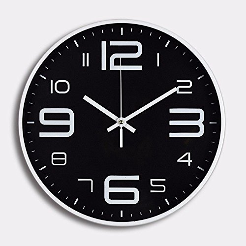 FortuneVin Stereo Braille Kunststoff 12 In Quarz Uhr Schwarz Wanduhr Moderne Batterie betrieben Hängen Uhren