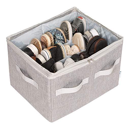 Moteph 16-Paar Schuhorganizer Schrank Aufbewahrungsmöglichkeit mit durchsichtiger Abdeckung & Verstellbaren Trennwänden für Schuhe, Handtaschen, Decken, Bettwäsche und Kleidung (Grau)