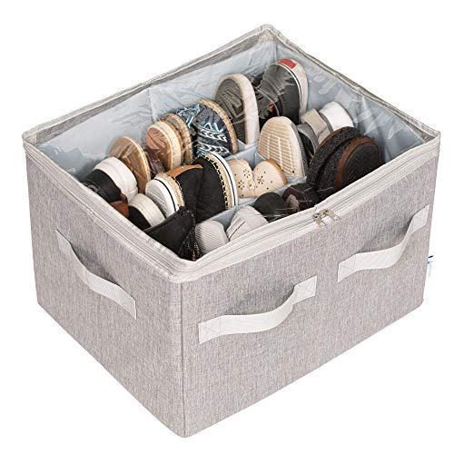 Moteph Shoe Organizer Closet Storage Solution with Clear Cover & Adjustable Dividers for Shoes, Handbags, Blankets, Linen, Clothing (Grey, Medium - 16...