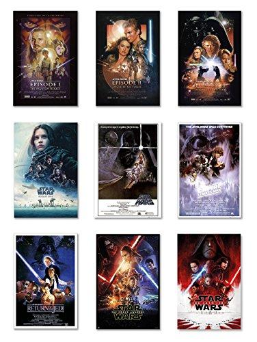 Filmposter Star Wars: Episode I, II, III, IV, V, VI, VII, VIII & Rogue One (je 61 x 91 cm)