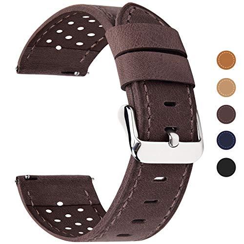 Fullmosa Correa de Reloj 18mm 20mm 22mm 24mm liberación rápida, 5 Colores Breeze Correa de Cuero de Banda de Piel de Becerro, 20mm Café