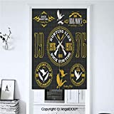 AngelDOU Hunting Decor Doorway Kitchen Cafe Half Tube Curtain Vintage Club Emblem from 1976 Hobby of Duck Hunting Themed Labels for Home Party Decoration 33.5x59 inches