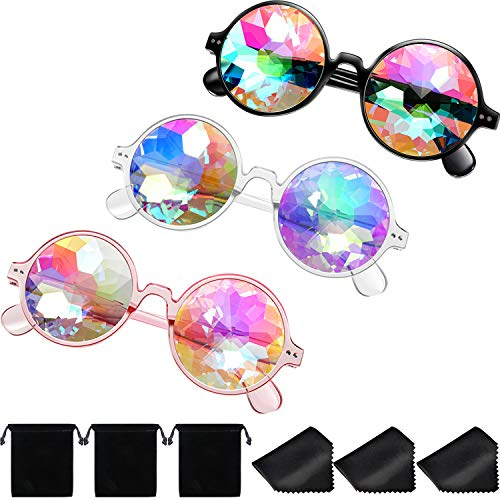 Yaomiao 3 Pieces Kaleidoscope Goggles Rainbow Prism Sunglasses with Glasses Cloth for Rave Party Festival Decoration Favors (Style A)