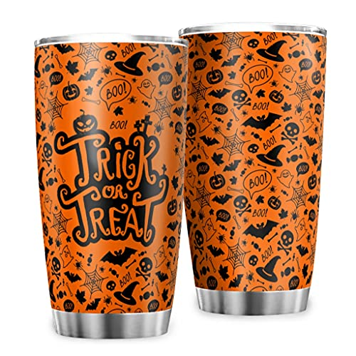 KittyliNO5 Taza de acero inoxidable para Halloween, color naranja dulce o ácido, con aislamiento de doble pared, 600 ml, color blanco