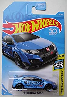Hot Wheels SPEED GRAPHICS 2/10, BLUE '16 HONDA CIVIC TYPE R 245/365 50TH ANNIVERSARY CARD