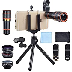 4 Great Lenses Accessories in One Kit: Awesome mobile photography for iPhone Samsung HTC LG Google Huawei Xiaomi. Includes 4 lenses: 12x zoom telephoto lens with manual focus ring, fisheye lens, macro lens and wide angle lens.Combine with your favori...
