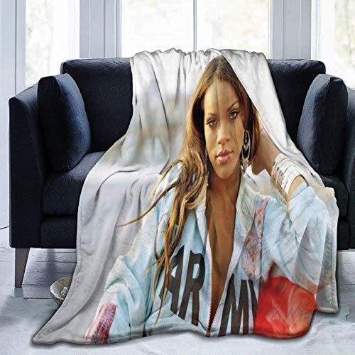 Rihanna Ultraweiche Micro-Fleece-Decke, Überwurf, superweich, hypoallergen, Plüsch, Bett, Couch, Wohnzimmer, 152,4 x 127 cm