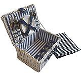 CREOFANT Picknickkorb für 4 Personen · Piknikset · Weidenkorb mit Picknickdecke · 22 teiliges Picknick-Set mit Geschirr · Picknickkoffer Set mit Decke (Weiß Blaue Streifen)