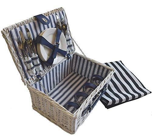 CREOFANT - Cesta de picnic para 4 personas · Juego de pícnic · Cesta de mimbre con manta · Juego de picnic de 22 piezas con vajilla · Juego de picnic con manta, Rayas blancas y azules.