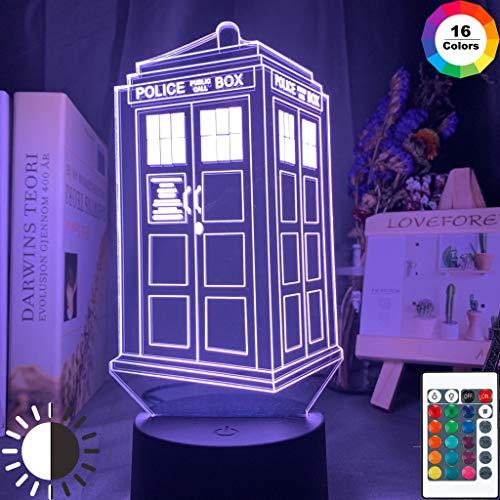 Doctor Who Call Box Police Box Lampada da tavolo a LED a luce notturna 3D Decorazione per camera da letto per bambini regalo di compleanno