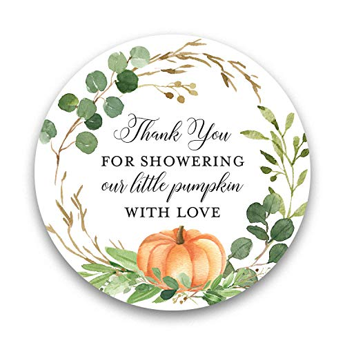2' Round Greenery Little Pumpkin Thank You Favor Stickers (40 Labels)
