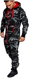 FRAUIT-Herren Top FRAUIT Herren Camouflage Jogging Jumpsuit Kapuzen Overall Lose Hoodie Reißverschluss Männer Herbst Winter Casual Cargo-Style Onesie Trainingsanzug