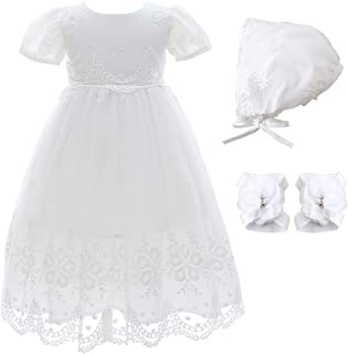 Xangirl Christening Baptism Flower Dress for Baby Girl Princess Formal Prom Tutu Ball Gown Party Wedding Birthday Dress