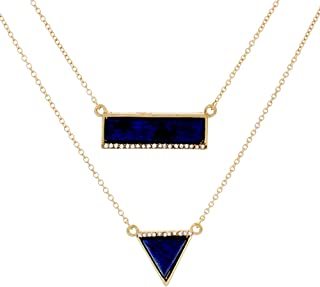 Annabelle Magical Gold Statement Necklace, Unique Trendy Blue Triangle Rectangular Yellow Gold Necklaces for Women, Fashion Statement Necklace for Girls, CZ Necklace