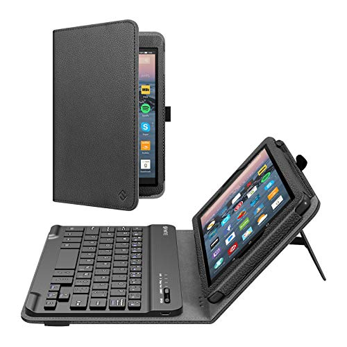 Fintie Folio Keyboard Case for All-New Amazon Fire 7 (9th Generation, 2019 Release), Slim Fit PU Leather Stand Cover with All-ABS Hard Material Removable Wireless Bluetooth Keyboard, Black