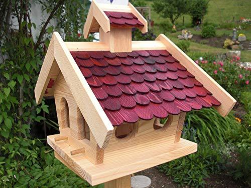 Vogelhaus Holzschindeln in Rot (V14) Vogelhäuser Vogelfutterhaus Vogelhäuschen Gartendeko Holztrends DHL