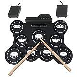 MooKe Portátil USB Recargables Batería Electrónica, A Prueba De Agua 9 Pads De Silicona Y 2 Barras De Pedales De Tambor, Instrumentos De Percusión para Niños Y Principiantes