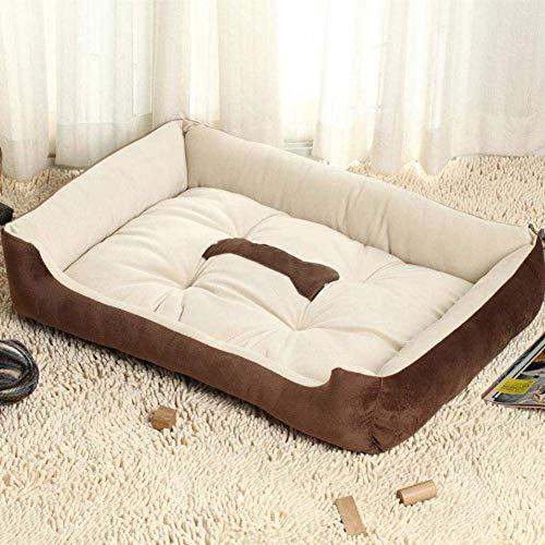 Busirsiz Gleitsicheres Hundebett, große Größe Hundehaus, weicher gemütlicher atmungsaktiv waschbare Hundekissen-Brown L