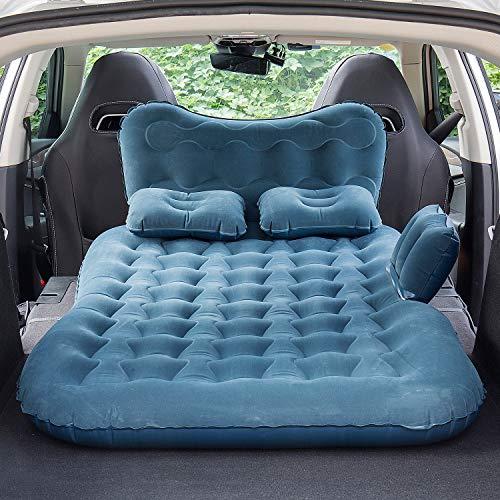 자동차 풍선 뒷좌석 수면 매트리스 자동차 침대 여행 휴가 캠핑 - 자동차 및 SUV 유니버설 피트 - 휴대용 자동차 공기 매트리스 전기 공기 펌프 및 2 개의 공기 베개 포함 (파란색)