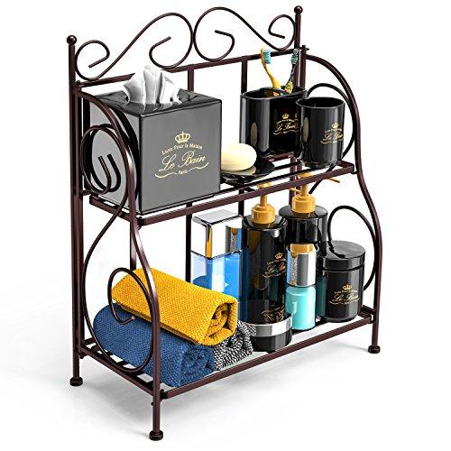 Bathroom Countertop Organizer, F-color 2 Tier Foldable Kitchen Spice Rack Counter Storage Shelf Organizer, Bronze