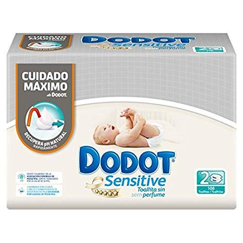 Dodot Sensitive Toallitas para Bebé - 3 paquetes de 2 x 54 toallitas - Total: 324 unidades