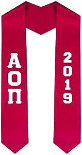 Custom Alpha Omicron Pi AOII Greek Lettered Graduation Sash Stole with Year