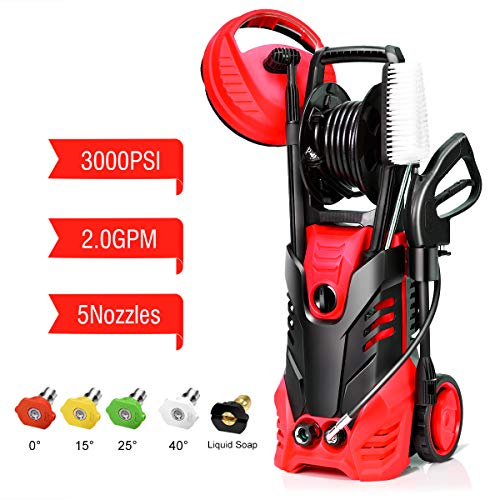 Goplus 3000PSI Electric High Pressure Washer, 2 GPM 2000W Portable Power Washer w/Deck Patio Cleaner & Nozzles (Red)