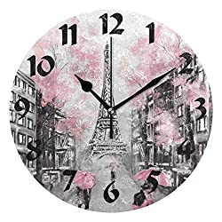 WELLDAY Trendy Romantic Eiffel Tower Paris Painting Print Round Wall Clock, Battery Operated Quartz Analog Quiet Desk Clock for Home, Office, School