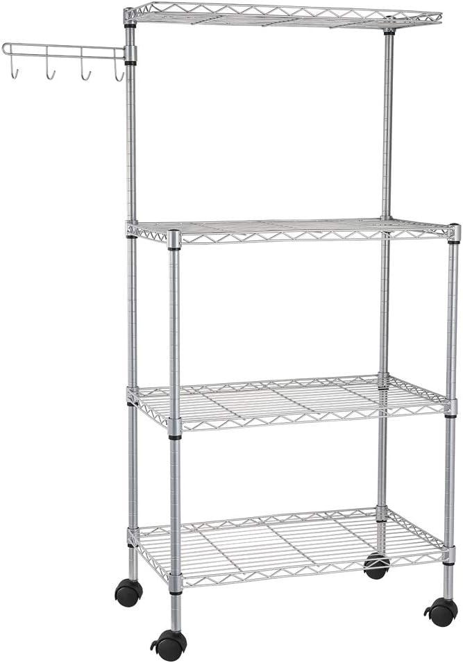 Kcelarec 4 Layer Adjustable Kitchen Bakers Rack Microwave Shelf Dealing Cheap SALE Start full price reduction