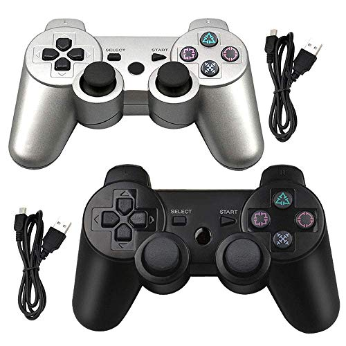 Tidoom PS3 Controller 2 Pack Wireless Bluetooth 6-Axis Gamepad Controllers Compatible for Playstation 3 Controller PS3 Wireless Controller with 2 Cables (Silver and Black)