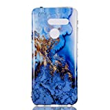 Vfunn LG G8 Case, LG G8 ThinQ Case, Vfunn [ Marble Series ] Slim Fit Soft TPU Gel Anti-Scratch Back Protective Phone Case Cover (Blue)