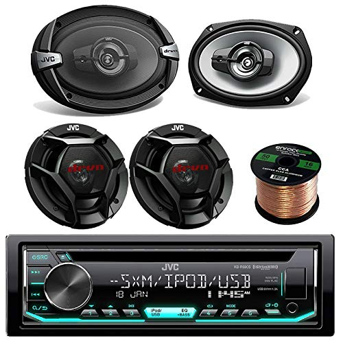 Single DIN Car Audio CD Player Receiver Bundle Combo with 2 x 6x9 1000W 3-Way Vehicle Stereo Coaxial Speakers + 2 x 6.5 300W 2-Way Audio Speakers + Enrock 50 Foot 16 Guage Speaker Wire
