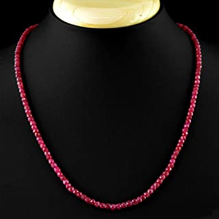 2x4mm Natural Faceted Brazil Red Ruby Gemstone Beads Necklace 18'' AAA