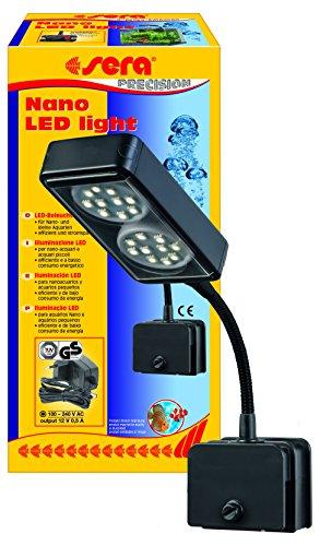 Sera 31067 Nano LED light 2x 2W eine LED-Lampe (4W/12V, stufenlos dimmbar) mit schlankem Reflektor zur Beleuchtung von Nano Aquarien wie dem sera Cube 16 l, Silber