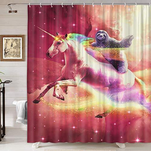 DYNH Duschvorhang mit lustigem Tiermotiv, cooles Faultier reitendes Einhorn im Weltraum, Duschvorhang, Stoff, Fantasy-Duschvorhang für Badezimmer, 12 Haken, 174 x 178 cm
