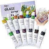 Magicdo 12 colores pinturas de vidrio con paleta, pintura no tóxica de calidad profesional para vidrio, juego de pintura de vidrio satinado de múltiples superficies, pigmento rico (12 x 12 ml) (12)