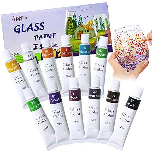 Hapree Vernice per Vetro 12 Colori, Pittura per vetri in Vetro atossico per Bottiglia di Vino, Cristallo, Finestra e Ceramica, 12 x 12 ml (0,41 FL. Oz)