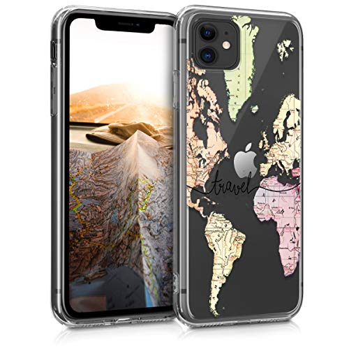 kwmobile Funda Compatible con Apple iPhone 11 - Carcasa de TPU y Mapa Mundial en Negro/Multicolor/Transparente