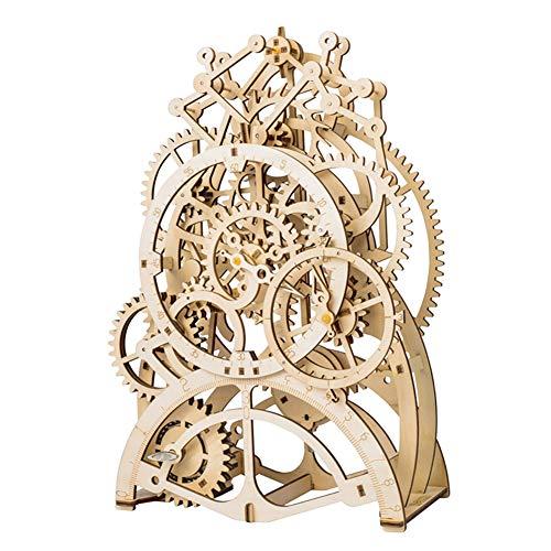 YINGZU Rompecabezas de Madera 3D Mecánica Impulsada por Engranaje Modelo de ensamblaje de Reloj de péndulo Inicio Kit de artesanía de Madera Los niños Adultos Pueden Construir Productos terminados