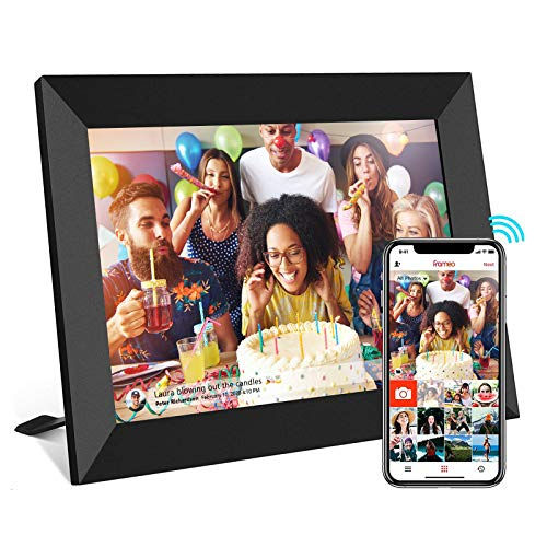Frameo Digital Picture Frame WiFi 10.1 Inch HD IPS Touch Screen, Easy Setup, 16GB Storage, Auto-Rotate, Wall-Mountable, Share Photos & Videos via Free APP from Anywhere