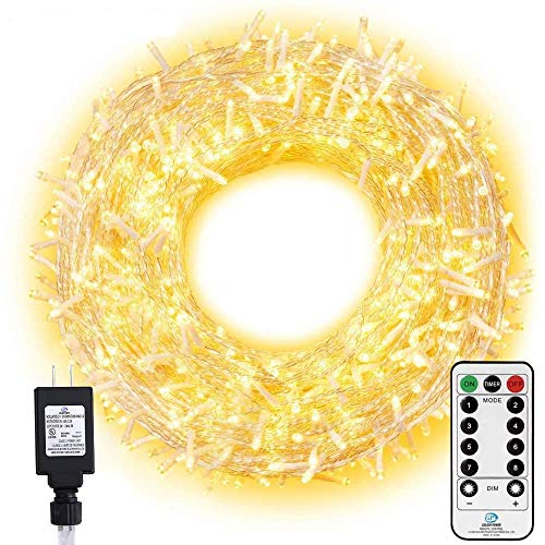 Ollny LED String Lights 800 LED 330FT Long Christmas Lights with Remote,8 Modes &Timer Warm White Fairy Lights Plug in Twinkle Lights for Room Indoor Wedding Tree Party Christmas Decoration Outdoor