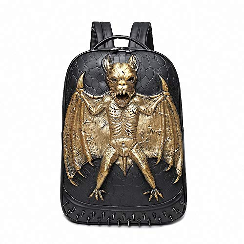 CBA BING Halloween Masquerade Pakket, 3D Driedimensionale klinknagel vleermuis Rugzak, Casual Waterdichte Grote Capaciteit Laptop Rugzak
