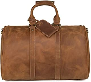 GY Travel Bag, Handbag, Men's Suede Leather Large-Capacity Leather Bag, Crazy Horse Leather Shoulder Diagonal Bag (Color : Brownish Yellow)