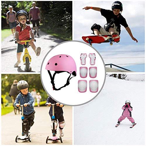 ValueTalks Kids Bike Helmet and Pads Set, 7pcs Adjustable Kids Skate Helmet Knee Pads Elbow Pads Wrist Pads for Bicycle Scooter Rollerskate Pink