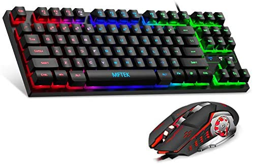 MFTEK RGB Rainbow Gaming Keyboard and Mouse Combo Compact 87 Keys Backlit Computer Keyboard product image