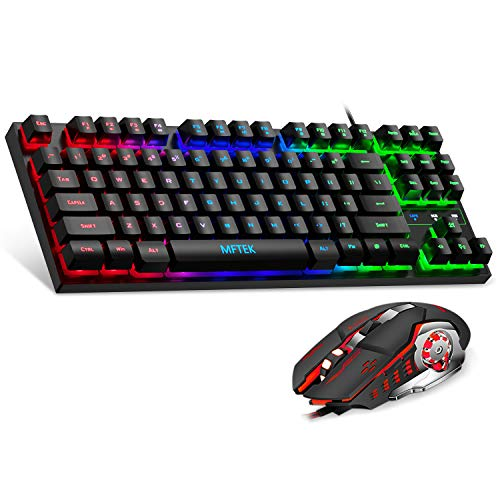 MFTEK RGB Rainbow Gaming Keyboard and Mouse Combo, Compact 87 Keys Backlit Computer Keyboard with Gaming Mouse, USB Wired Set for PC Gamer Laptop Work