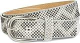 styleBREAKER Nietengürtel mit 2-farbigen Nieten im Zacken Look, Vintage Gürtel, kürzbar, Unisex 03010069, Farbe:Weiß-Grau, Größe:90cm